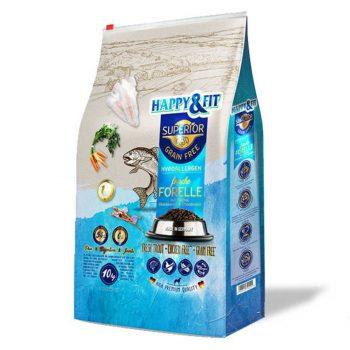 Happy&Fit Superior Grain Free Hipoallergén pisztráng 10 kg
