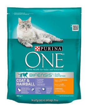 Purina One Coat&Hairball  csirke macska szárazeledel 800 gr